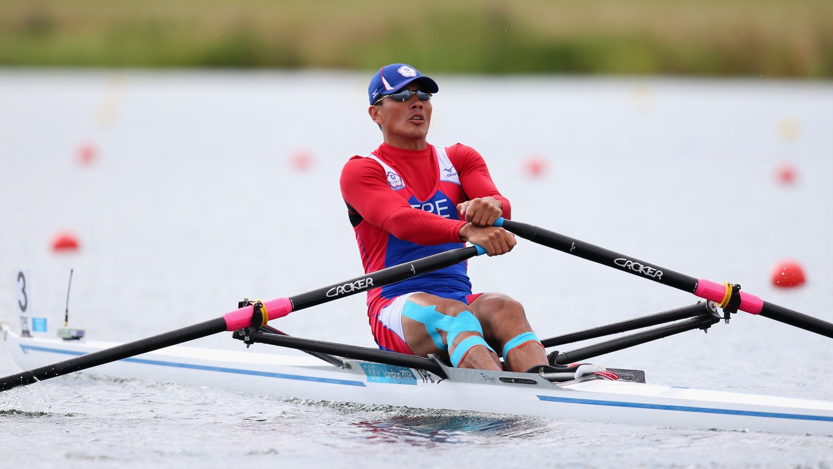 Ming-Hui Wang of Taiwan competing in Men's Single Scull
